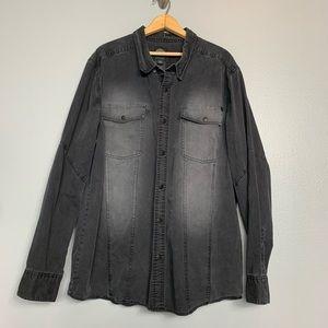 HARLEY DAVIDSON | black snap front shirt 2XL